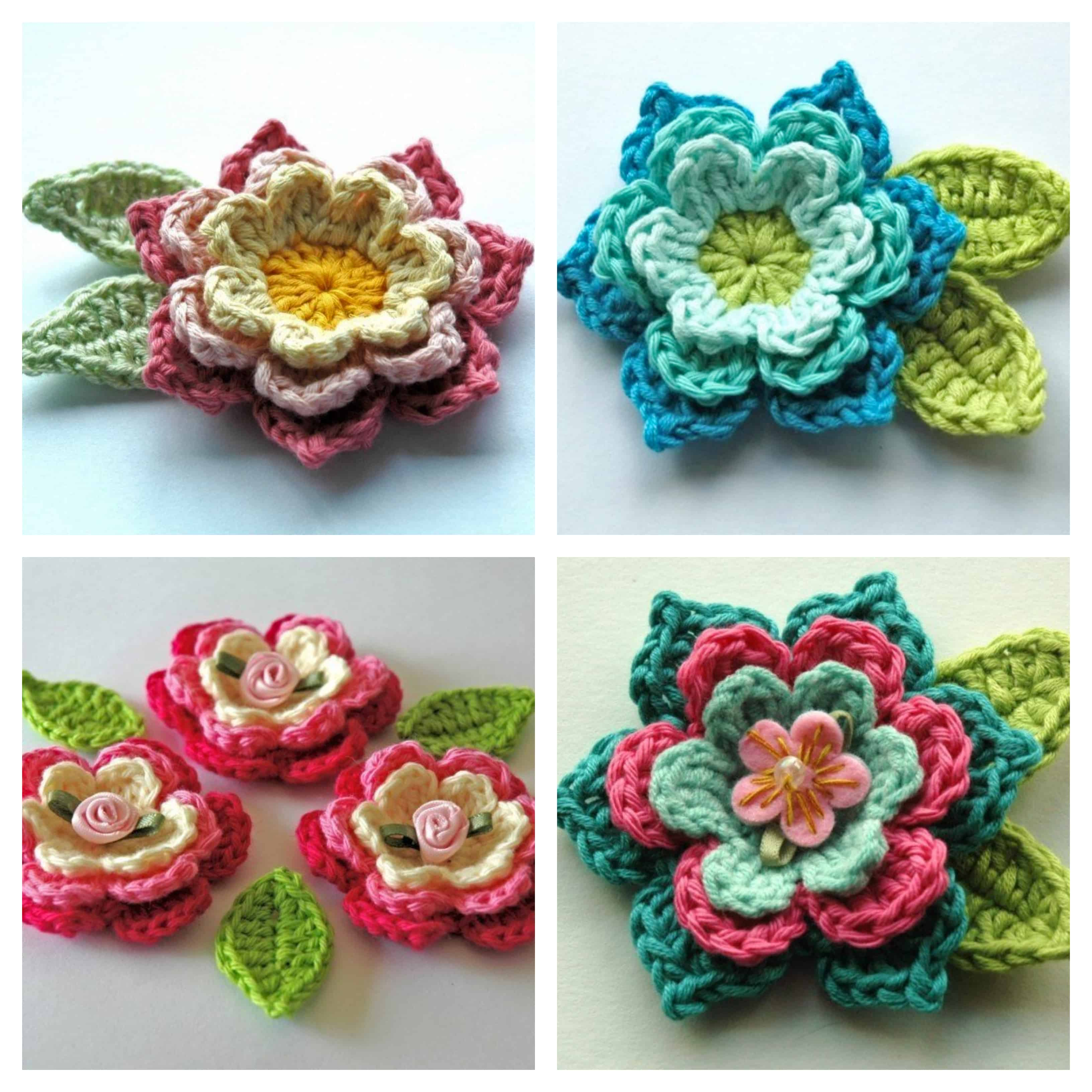 Blooming Crochet Flowers And Leaves Free Pattern Annie