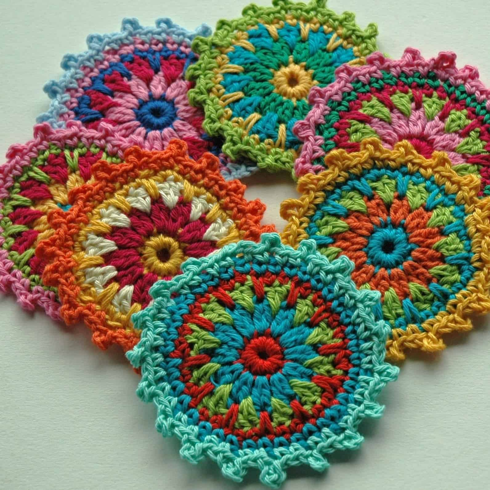 crochet flower coaster free pattern
