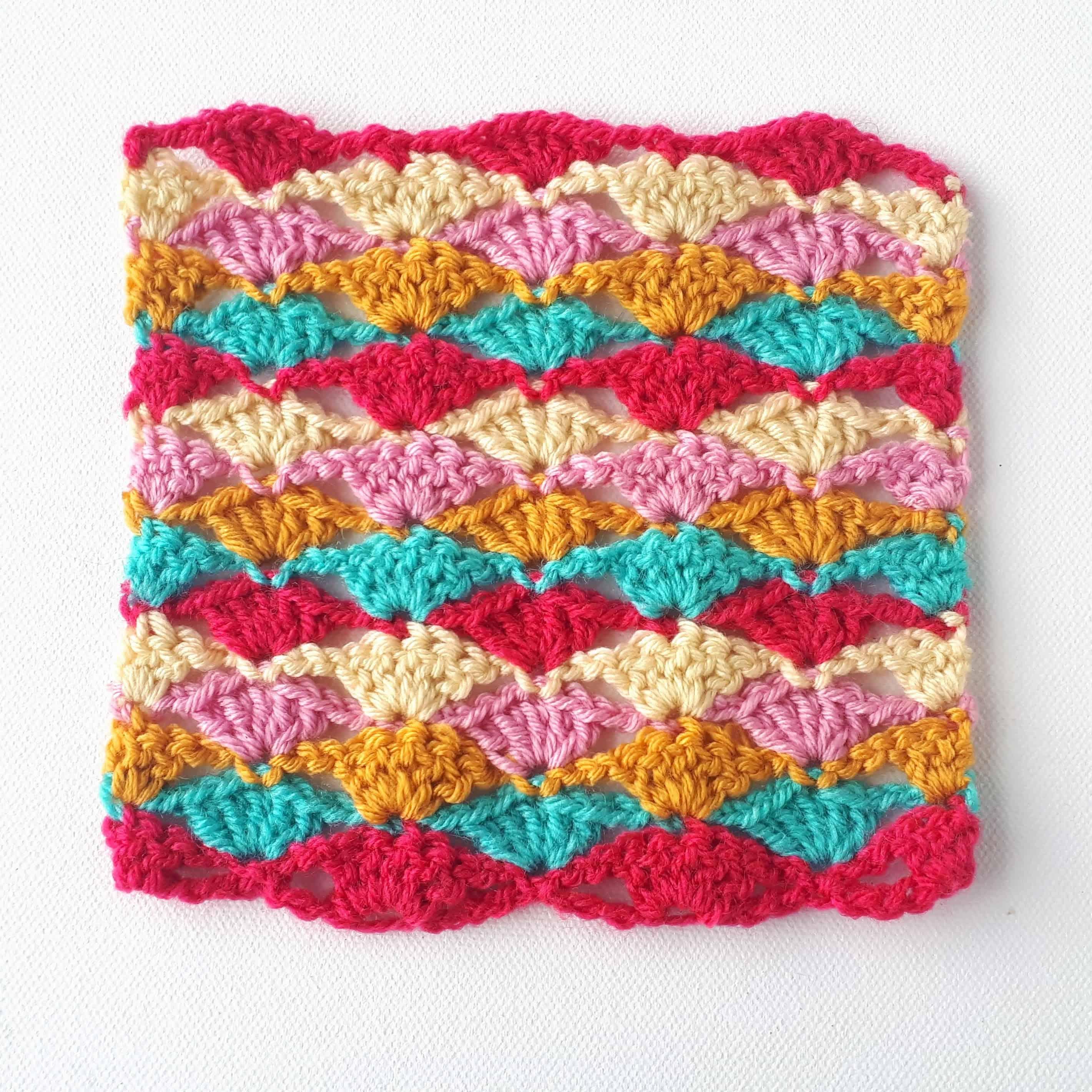 crochet stitch shell fan tutorial