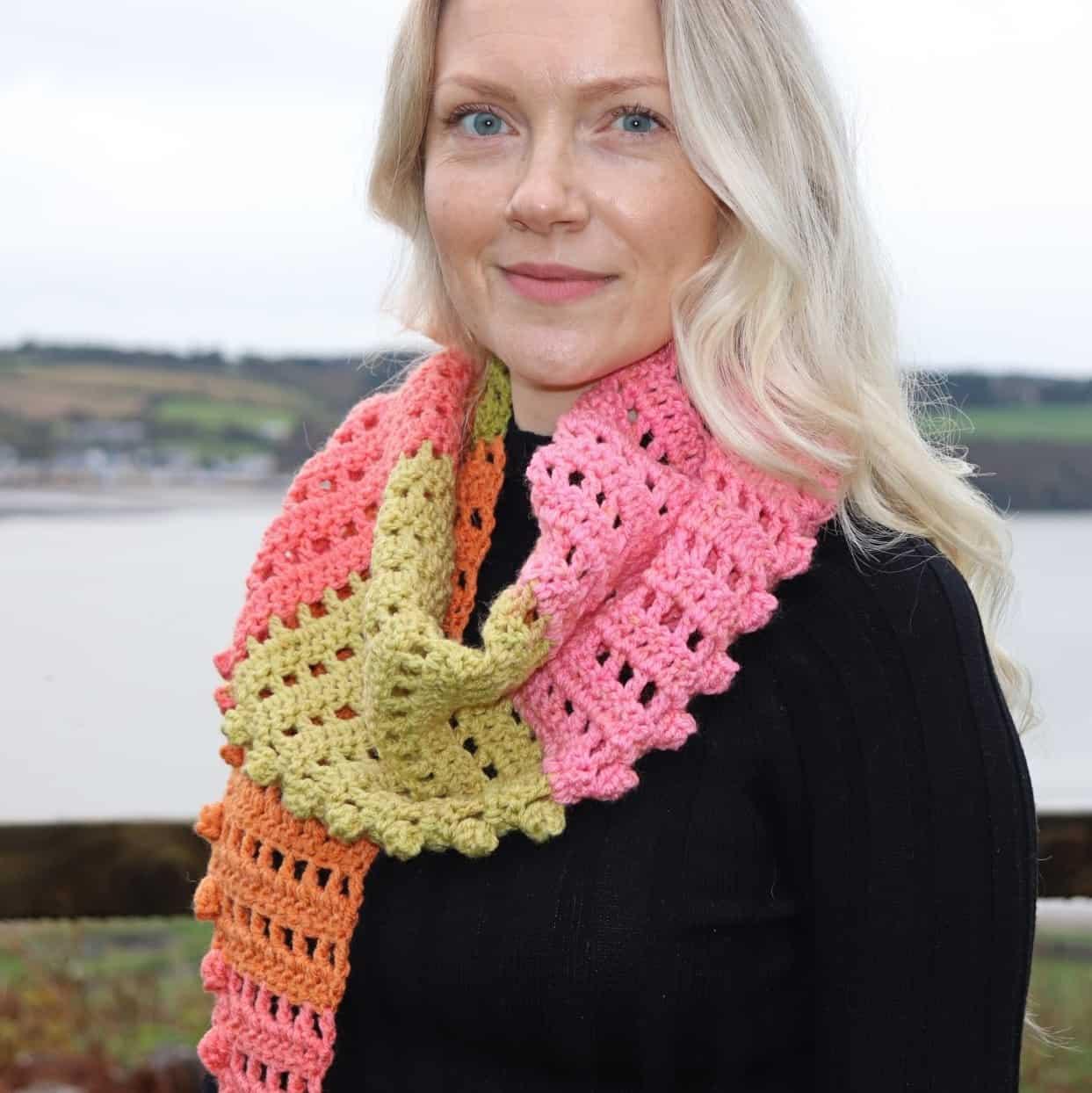 one skein crochet scarf free pattern