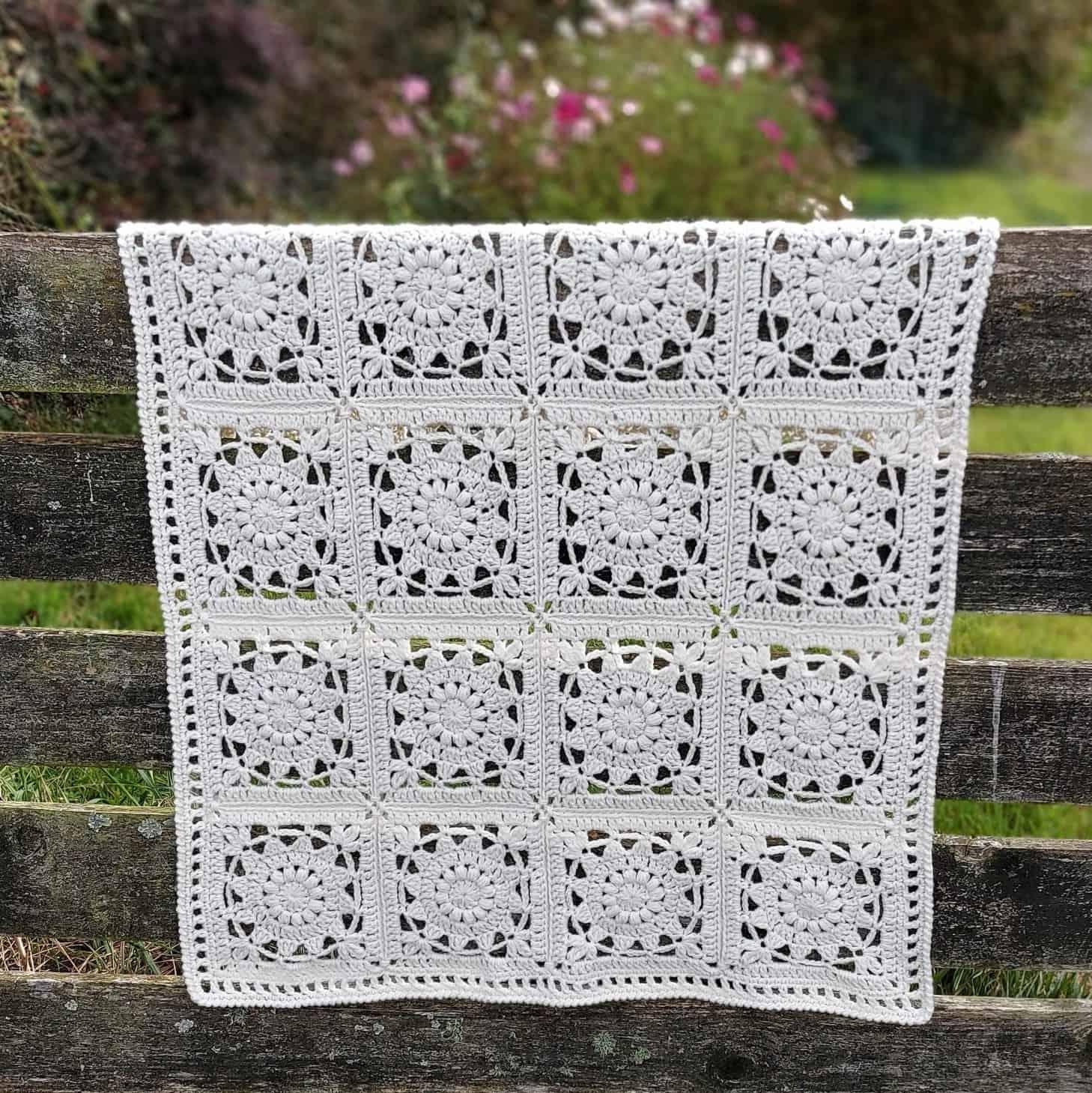 crochet flower square blanket pattern
